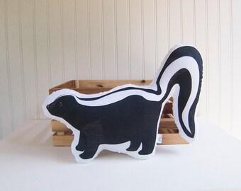 Skunk Pillow Plush Soft Toy Woodland Nursery Decor Ready to Ship