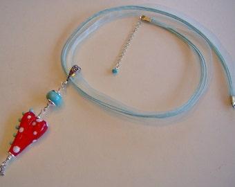 Glass Lampwork Beaded Pendant-Artisan Lampwork Pendant/Necklace in Sterling Silver-Heart Shaped Glass Lampwork Bead Pendant-Art Bead Pendant