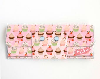 Vinyl Long Wallet - Cupcakes / pink, sweets, dessert, vegan, pretty, large wallet, clutch, card case, vinyl wallet, woman, cake, baker, cute