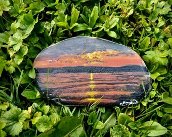 Original acrylic painting on rock, Rise of the morning sun, by Jeremiah