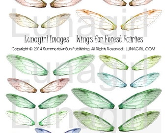 FAIRY WINGS digital collage sheet, dragonfly jewelry, altered art fairies, printable ephemera, woodland forest faerie, green brown, DOWNLOAD