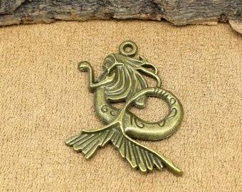 10pcs Antique Bronze Mermaid Charms Pendants 40x34mm C3048-T
