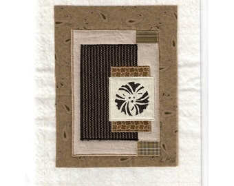 Mini Art Quilt Asian Gingko Crest Zen Dry Garden Sand Stone Ready to Frame