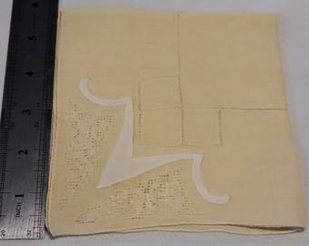 L-107 Yellow Vintage Handkerchief with Cream Trim and Open Work