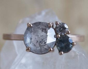Natural Grey Rose Cut Diamond + Sapphire Cluster Ring