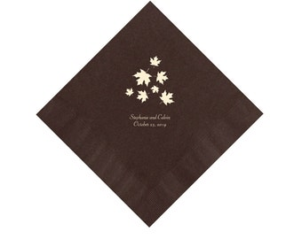 Falling Leaves Fall Wedding Napkins Personalized Set of 100 Napkins Thanksgiving Paper Napkins