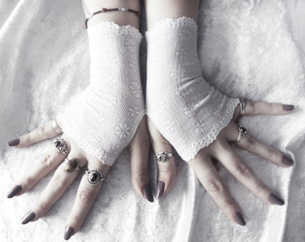 Darcy Lace Fingerless Glove Mittens - Snow White Floral - Bridal Wedding Gothic Vampire Victorian Snowflake Mori Belly Dance Goth Bohemian