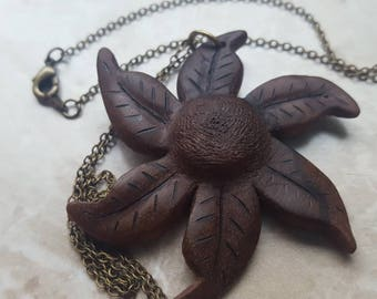 Chain, necklace with carved flower from walnut, necklace in bronze optics, Vintagelook