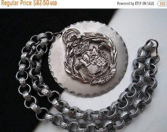 ON SALE Vintage Lion Crown Shield Royal Coat Of Arms Necklace, Statement Jewelry, Mid Century Collectibles,  Retro Necklace, 1960's