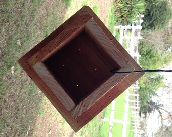 "Easy Mount Redwood Bird Feeder Post Cap For 4"" x 4"" Post. Moisture And Insect Resistant."