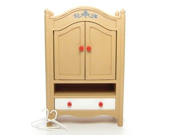 Smaller Home Wardrobe Vintage Tomy Dollhouse Miniature Armoire Closet Dresser with Drawer & Hangers