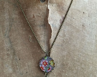 """Tin Jewelry Necklace """"Small Flower"""" Tin for the Ten Year Tenth Wedding Anniversary"""