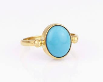 Sleeping Beauty Turquoise Ring 14K Gold Ring Turquoise Cabochon Ring Blue Turquoise in Yellow Gold Ring December Birthstone Handmade Ring