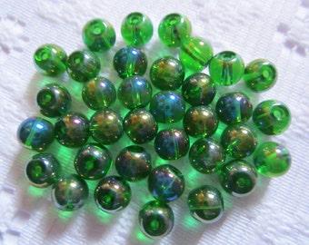 26  Emerald Green AB Round Czech Glass Beads  6mm