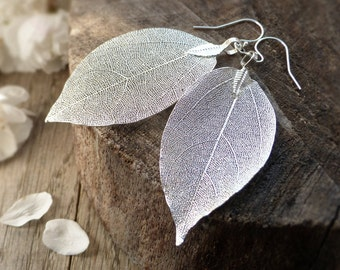 Real leaf earrings, sterling silver, silver dipped leaves, natural jewelry, woodland jewelry, wedding jewelry, bridal earrings, gift for her