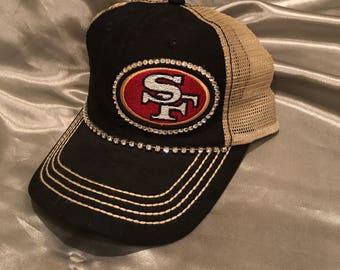 San Francisco 49er, SF 49er Trucker Hat, SF, 49er, Football Team,  Bling Hat, Spirt Hat, Womens Hat, Sworovski Crystal Hat