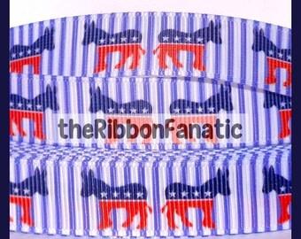 "15% off 5 yds 5/8""  Democrat Donkey Election Red White Blue Stripes Patriotic Grosgrain Ribbon"