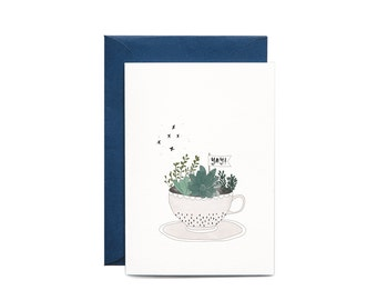 Hooray YAY Congrats Tea Cup Illustrated Greeting Card