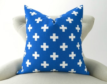 Royal Blue Pillow Cover -MANY SIZES- Cobalt Throw Pillow/Cushion, Cross Pattern,  Euro Sham, Swiss Cross Pemier Prints