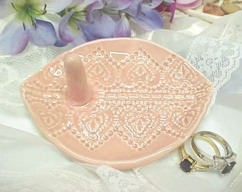 Oval Ring Holder - Sweet Heart Design - Tea Rose Pink Glaze - Jewelry Tray - Single Post  Ready to Mail OR Custom Made to Order with 2 Posts