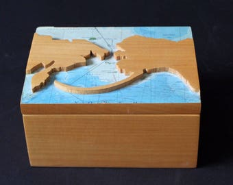 "Contemporary Modern ""Alaska/Russia"" Walnut & Oak Box Sculpture David Barr"