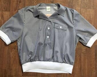 Vintage 1980s Black/White Stripe Crop Top UK Size 14/16