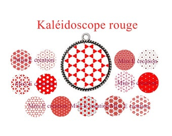 Red Kaleidoscope print of digital images for cabochon 25mm and 20mm and 18mm