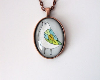 Bird with Colorful Wing- mini print necklace pendant and chain
