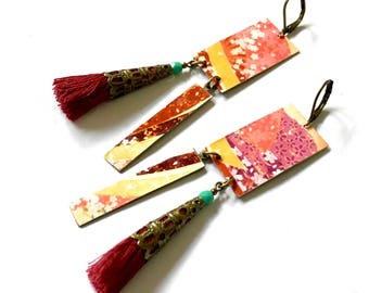 Rectangular earrings: stylized flowers. Japonese motives. Red paint(painting). Red pearls.