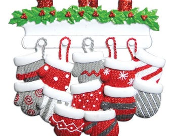 Family of 12 Ornament Mitten Ornament Family Mittens Personalized Christmas Ornament