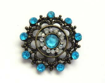 Gunmetal and Blue Rhinestone Brooch, Vintage '40s Estate Find Pin