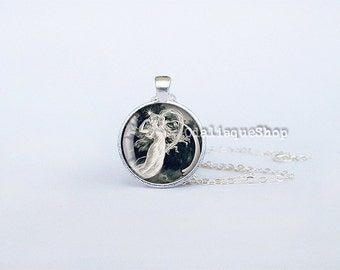Pendant Maiden of the moon vintage necklace stars art jewelry key ring birthday gift silver cs212