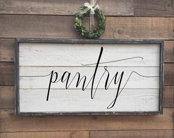 Pantry sign, framed shiplap, vintage wood sign