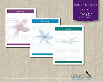 Printable Floral Calendar - Birthday Calendar - Anniversary Calendar - Colorful Eternal Planner - Instant Download PDF