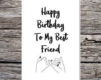 best friend birthday card, friend card, best friend, bestie, funny happy birthday card curly/script font to my best friend pinky promise