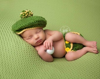 Baby Golfer Photo Prop/ Newborn Golfer Hat and Diaper Cover/ Golfer Newborn Prop/Driver Cap/ Green and Yellow Prop/ Baby Boy Prop