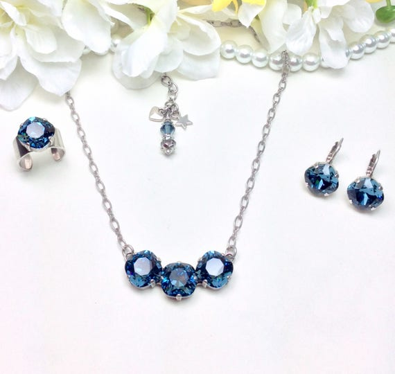 Swarovski Crystal 12MM Cushion Cut SET - 3 Stone Necklace, Deco Style Ring & Earrings - Designer Inspired - Choose Any Color - FREE SHIPPING