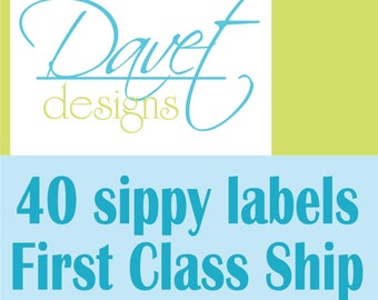40 Waterproof Kid's Sippy Cup (or baby item) Labels - Dishwasher Safe - First Class Shipping - no tracking number