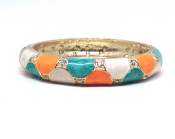 Vintage Estate Orange Green Enamel Rhinestone Gorgeous Clamper Bracelet