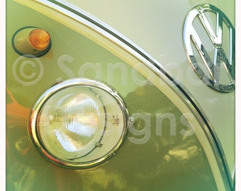 4 x 4 photo card-Khaki VW bus