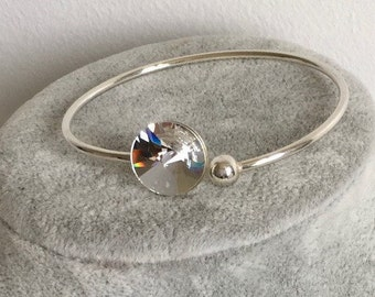 Flexible silver bracelet with Swarovski Crystal element