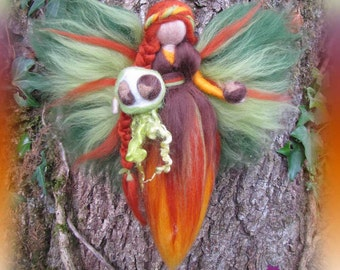 Hydref Autumn Fairy needle felted and waldorf inspried