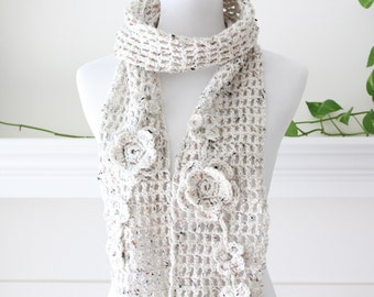 Crochet Oatmeal Color Scarf with Flower