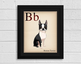 Boston terrier flash card print / Boston Terrier gifts / Boston Terrier lovers / boston terrier art print / wall decor