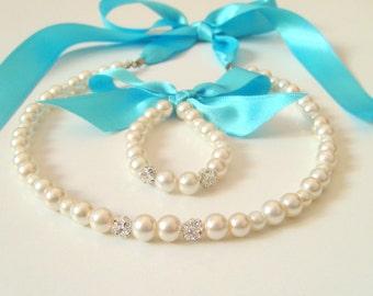 Flower girl jewelry/Turquoise ribbon Flower girl jewelry set/Flower girl necklace/Flower girl bracelet/Wedding jewelry/Flower girl gifts