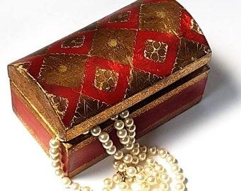 SALE Antique Florentine Jewelry Box ,Vintage Italian Medieval Style trinket box ,Boho style Wedding Ring Box ,gilden jewelry carved box