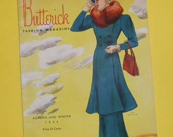 ON SALE 1930s Butterick Fashion Magazine Autumn and Winter 1936 48 Pages