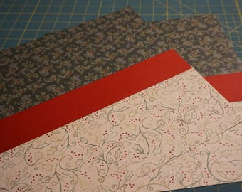 "OOAK ""Red-Banded Holly Berries"" 12 x 12 Scrapbook Pages - 2 Page Set"