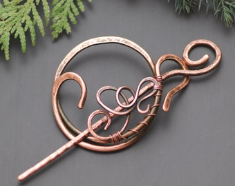 Copper Hair Barrette Stick Copper Shawl Pin Celtic Scarf pin Texture Hair Slide  Hair Barrette Celtic Copper Brooch Hair Jewelry Metal Pin