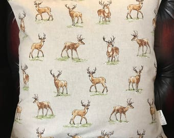STAGS  CUSHION COVER   [with Beige  back ]   16X16
